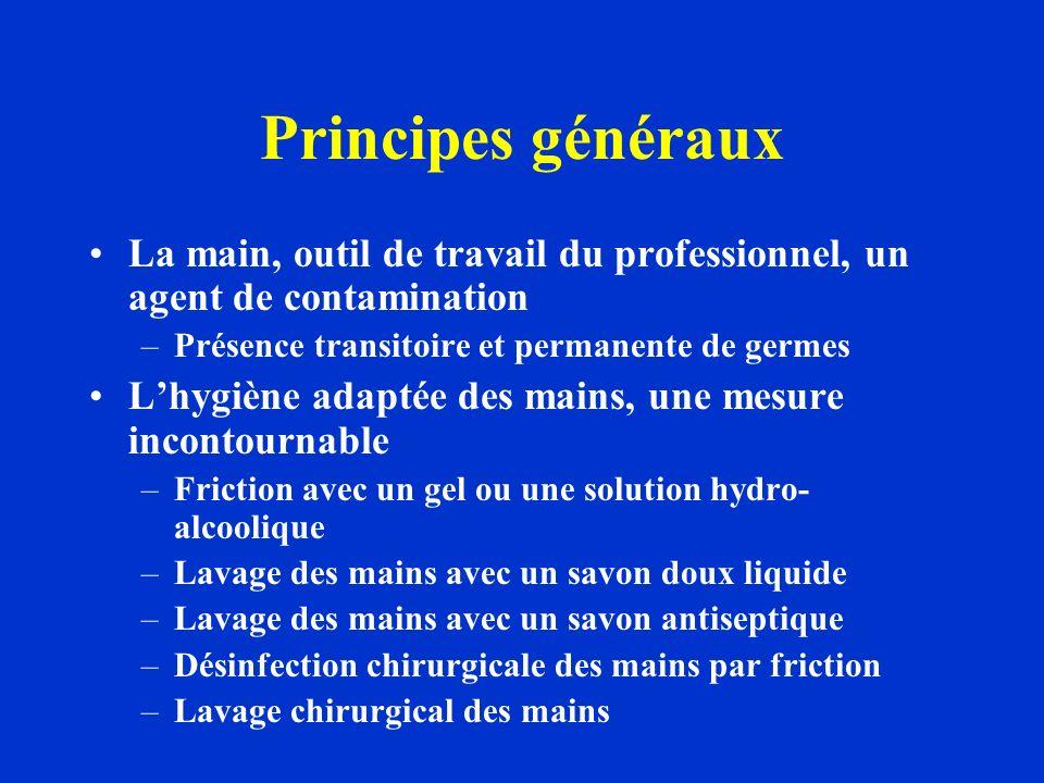 Principes généraux La main, outil de travail du professionnel, un agent de contamination. Présence transitoire et permanente de germes.