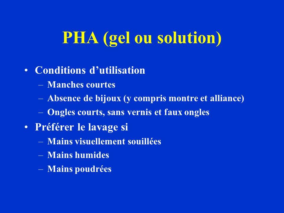 PHA (gel ou solution) Conditions d'utilisation Préférer le lavage si