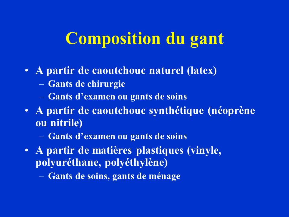 Composition du gant A partir de caoutchouc naturel (latex)