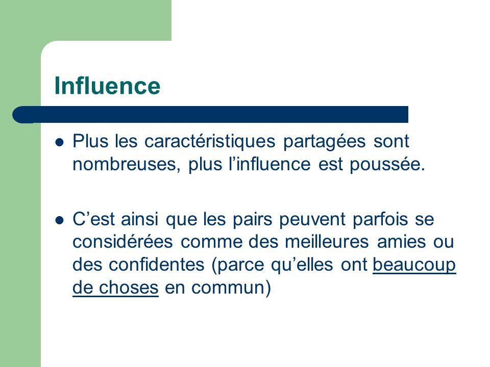 Influence Plus les caractéristiques partagées sont nombreuses, plus l'influence est poussée.