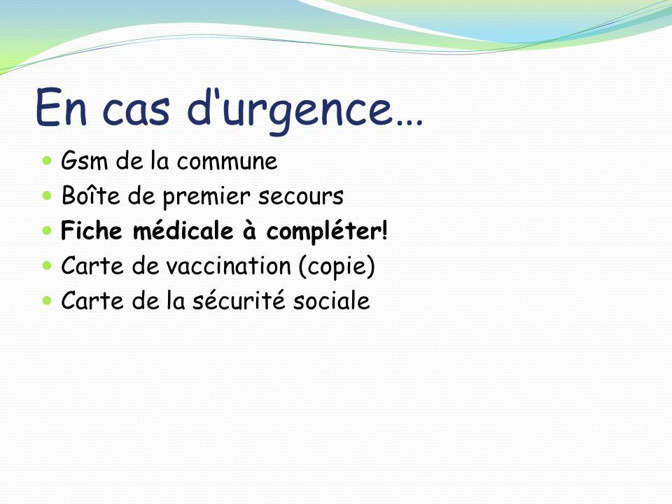 En cas d'urgence… Gsm de la commune Boîte de premier secours