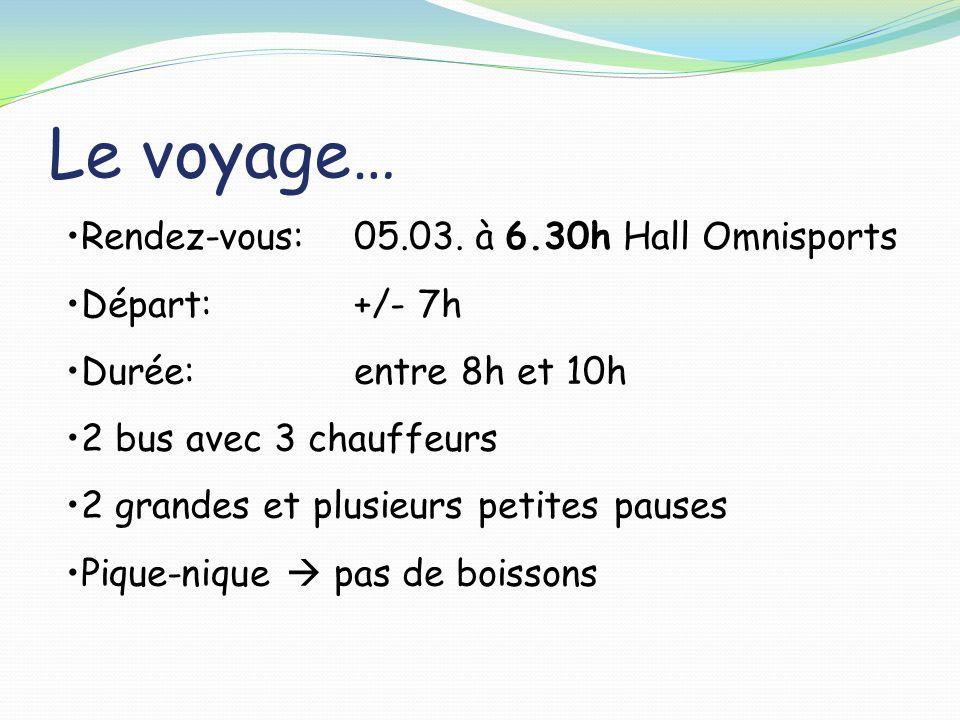 Le voyage… Rendez-vous: 05.03. à 6.30h Hall Omnisports Départ: +/- 7h