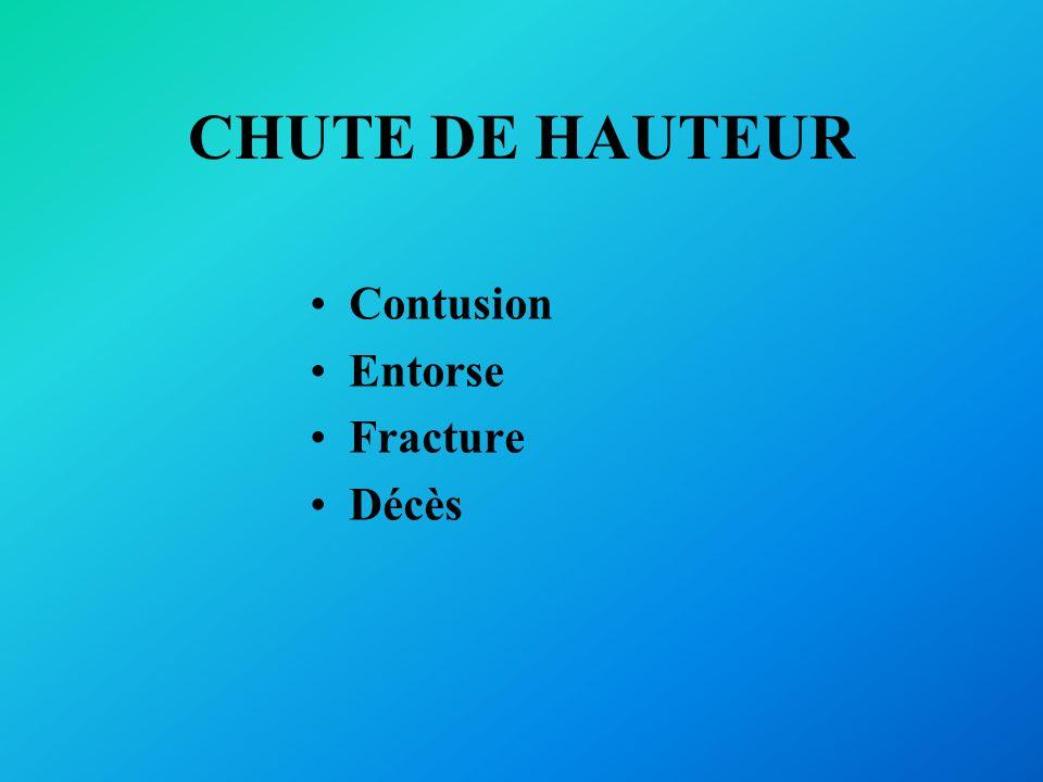 CHUTE DE HAUTEUR Contusion Entorse Fracture Décès