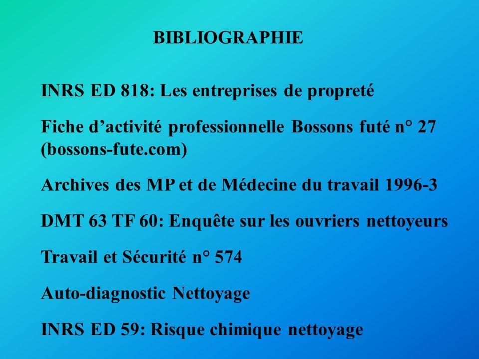 BIBLIOGRAPHIE INRS ED 818: Les entreprises de propreté. Fiche d'activité professionnelle Bossons futé n° 27.