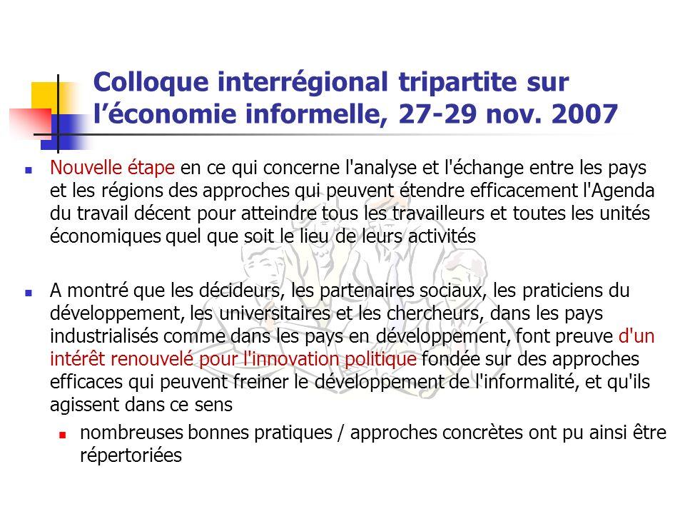 Colloque interrégional tripartite sur l'économie informelle, 27-29 nov
