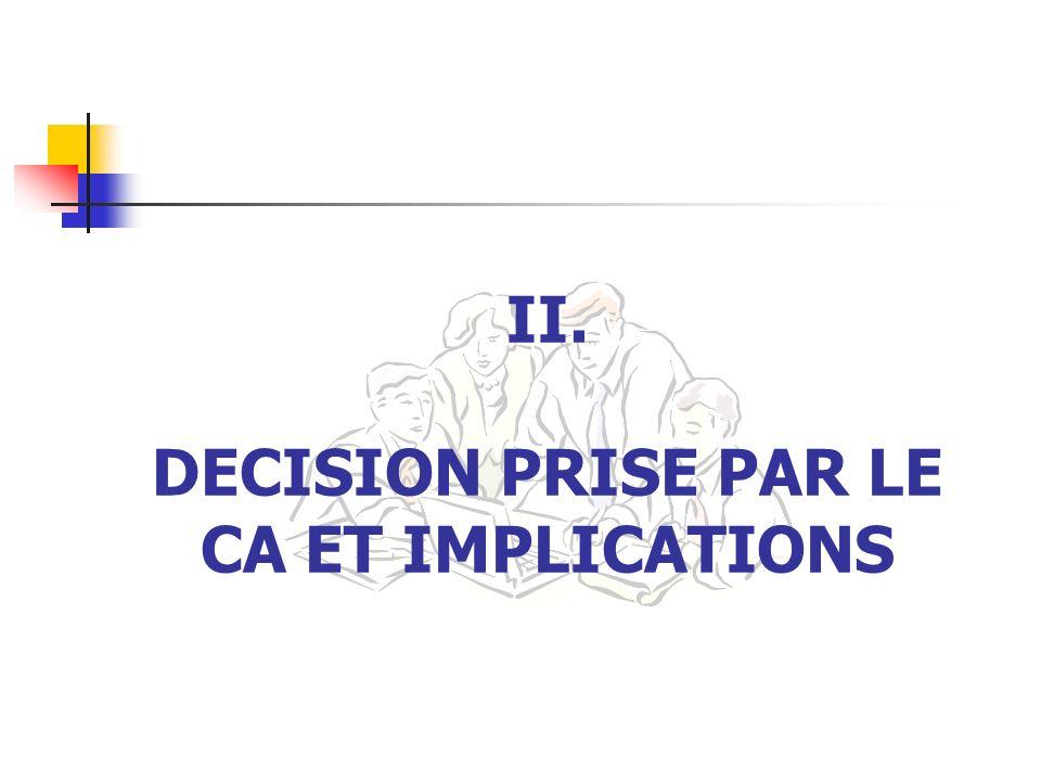 II. DECISION PRISE PAR LE CA ET IMPLICATIONS