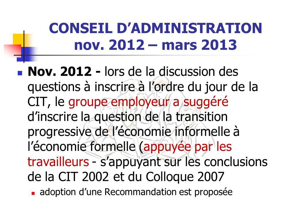CONSEIL D'ADMINISTRATION nov. 2012 – mars 2013