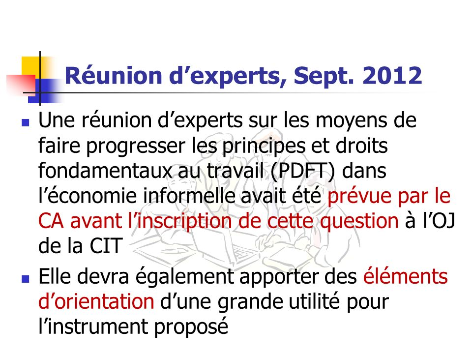 Réunion d'experts, Sept. 2012