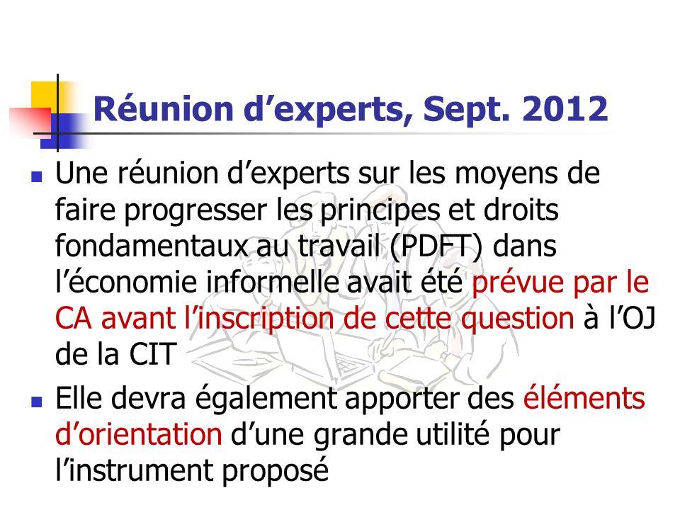 Réunion d'experts, Sept. 2012