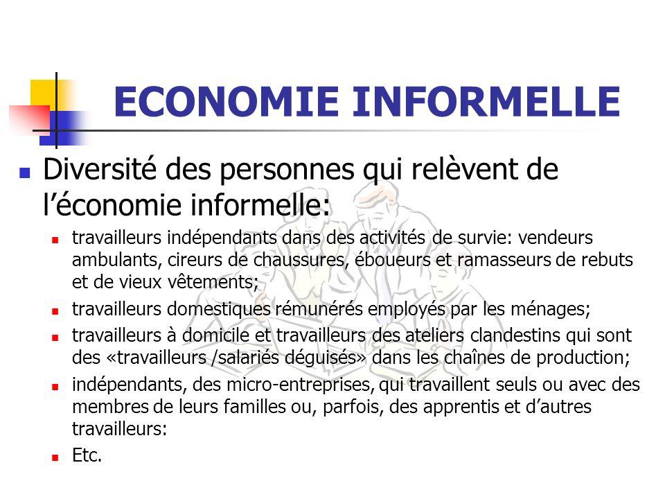 ECONOMIE INFORMELLE Diversité des personnes qui relèvent de l'économie informelle: