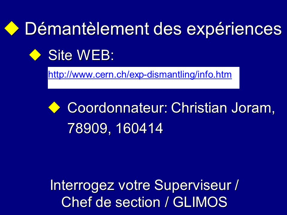 Interrogez votre Superviseur / Chef de section / GLIMOS