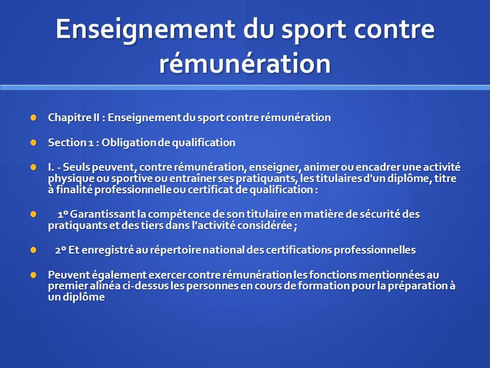Enseignement du sport contre rémunération