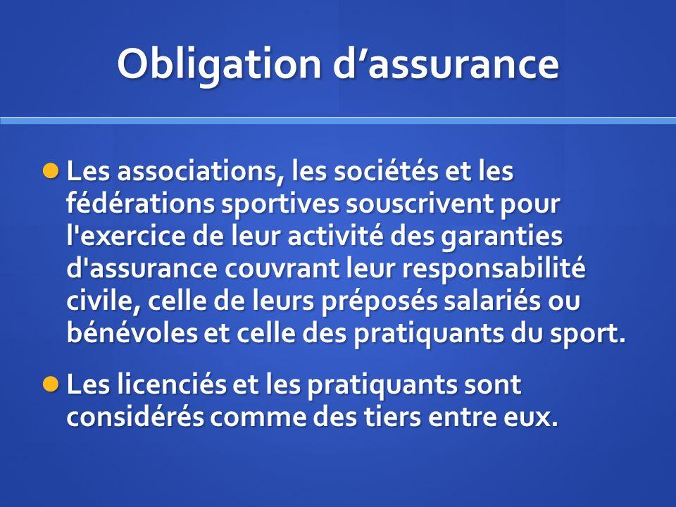 Obligation d'assurance