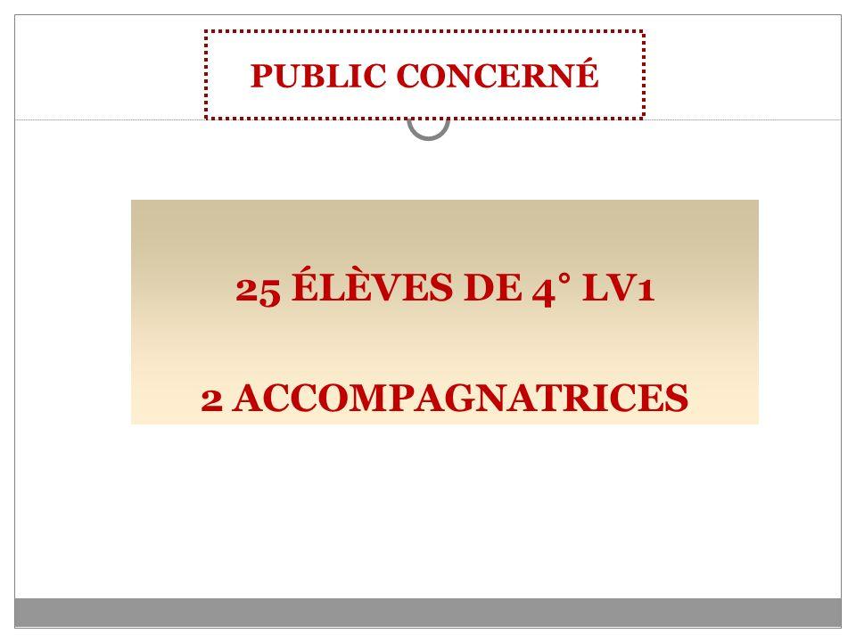 25 ÉLÈVES DE 4° LV1 2 ACCOMPAGNATRICES