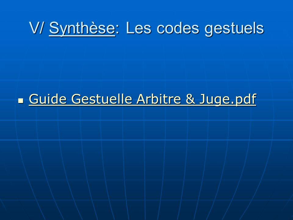 V/ Synthèse: Les codes gestuels