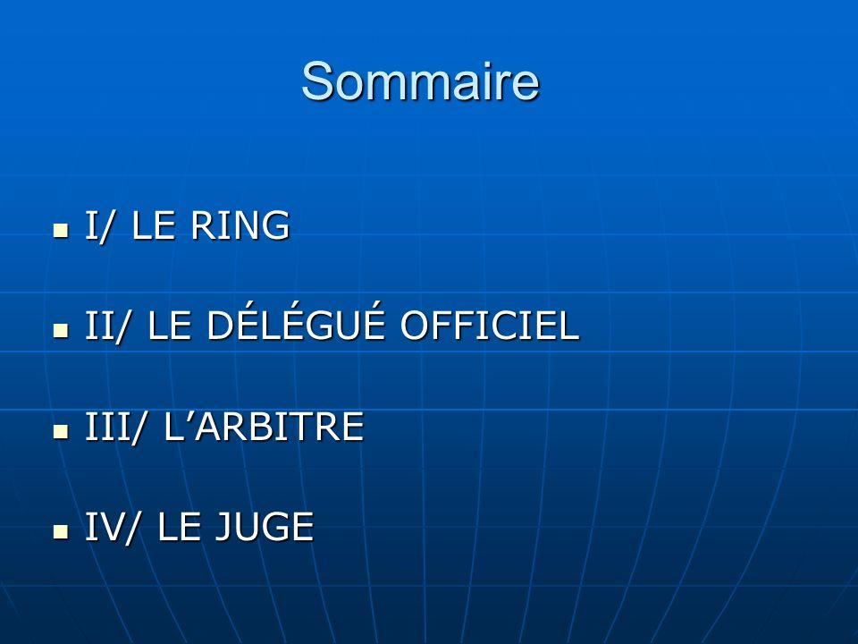 Sommaire I/ LE RING II/ LE DÉLÉGUÉ OFFICIEL III/ L'ARBITRE IV/ LE JUGE