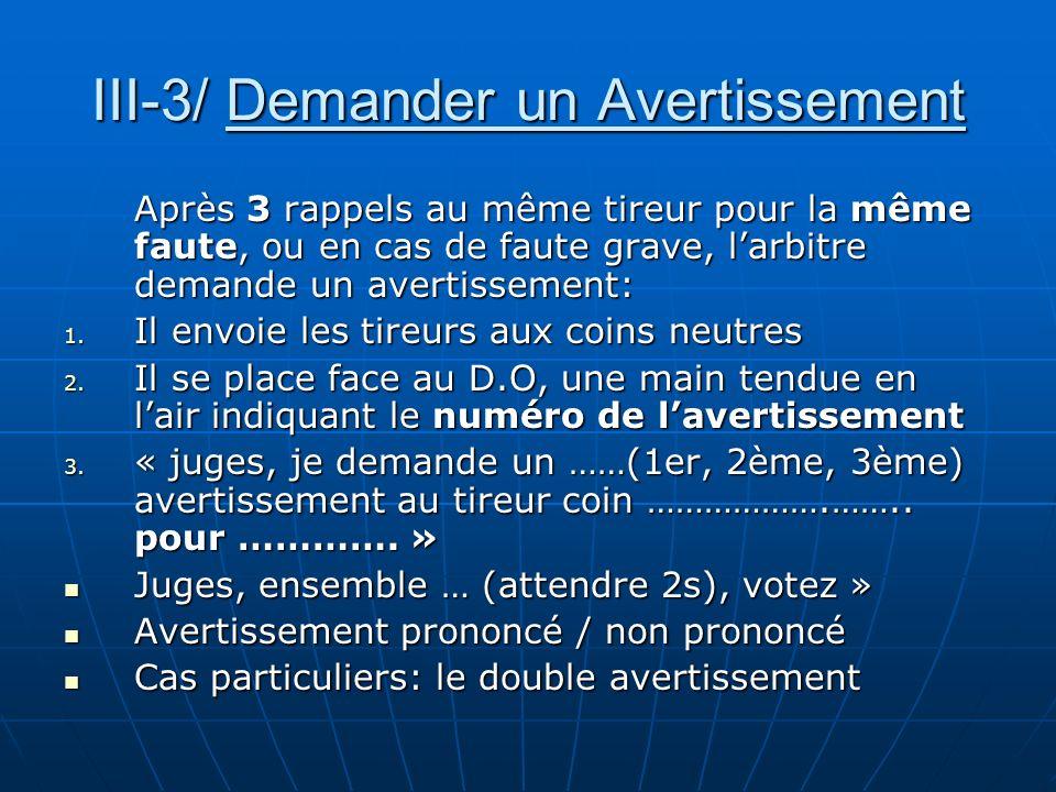 III-3/ Demander un Avertissement