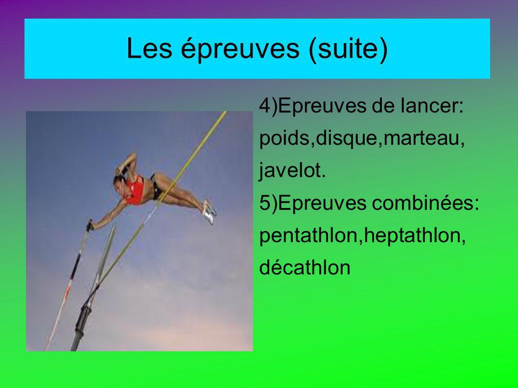 Les épreuves (suite) 4)Epreuves de lancer: poids,disque,marteau,