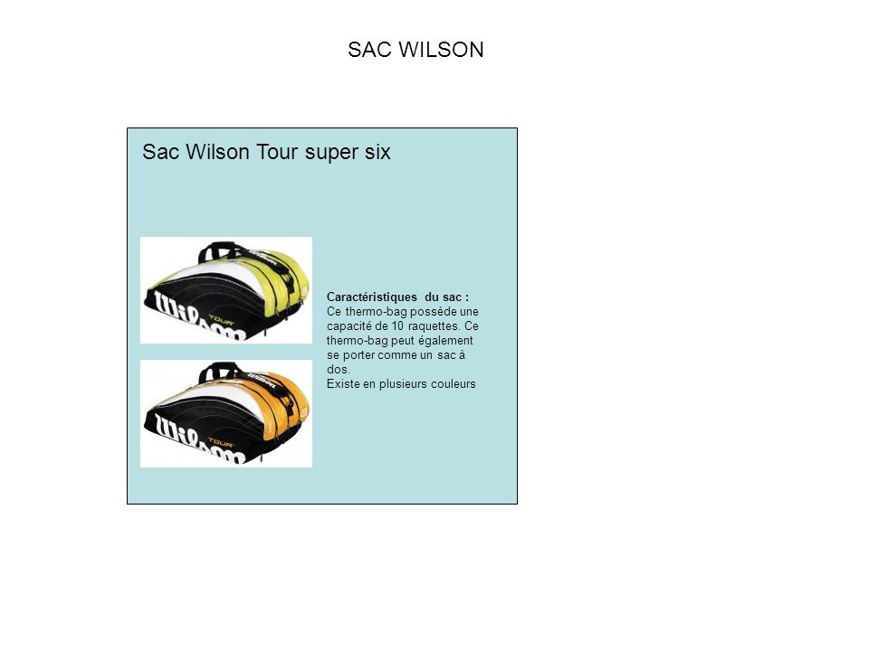 Sac Wilson Tour super six