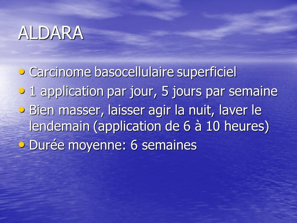 ALDARA Carcinome basocellulaire superficiel
