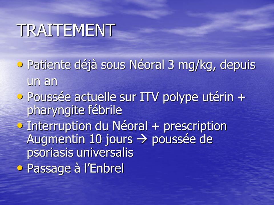 TRAITEMENT Patiente déjà sous Néoral 3 mg/kg, depuis un an