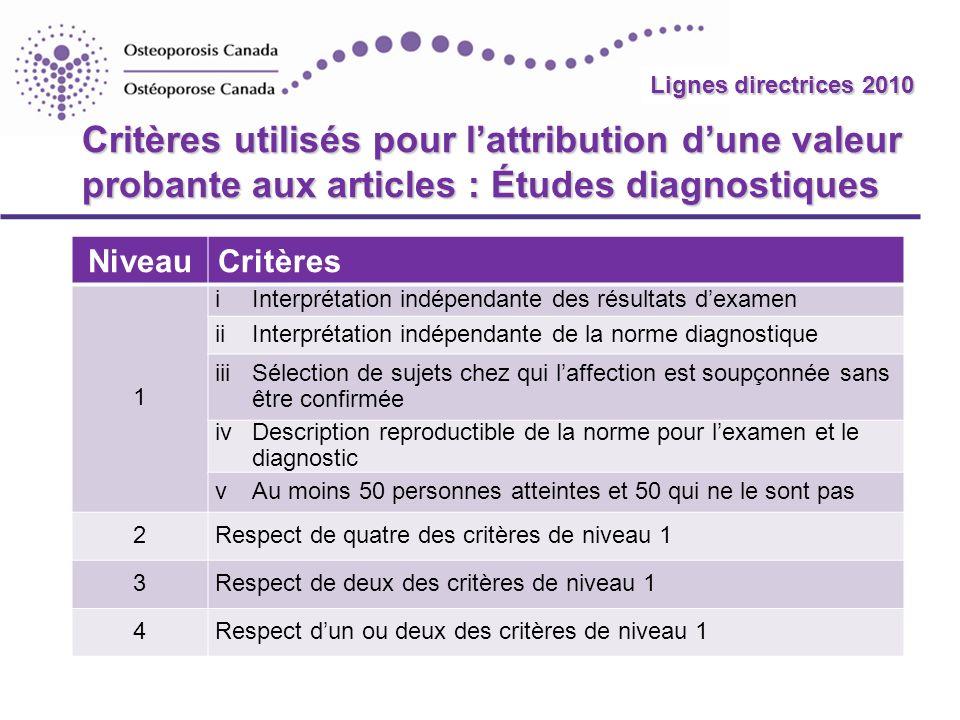 Lignes directrices 2010 Critères utilisés pour l'attribution d'une valeur probante aux articles : Études diagnostiques.