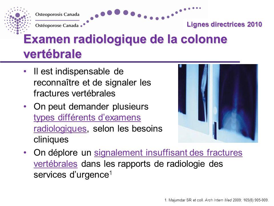Examen radiologique de la colonne vertébrale