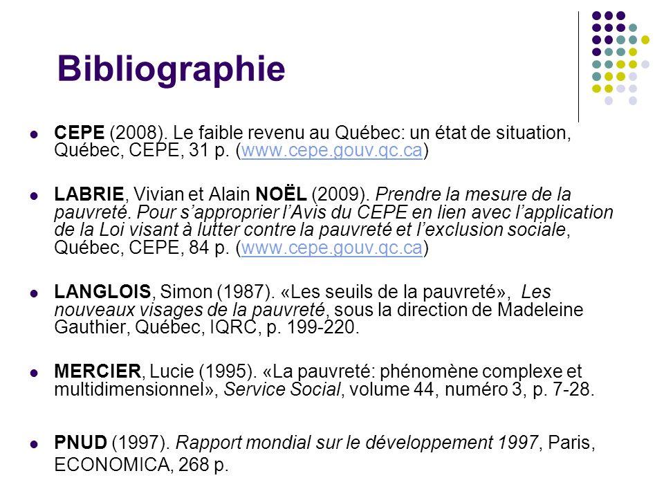 Bibliographie CEPE (2008). Le faible revenu au Québec: un état de situation, Québec, CEPE, 31 p. (www.cepe.gouv.qc.ca)