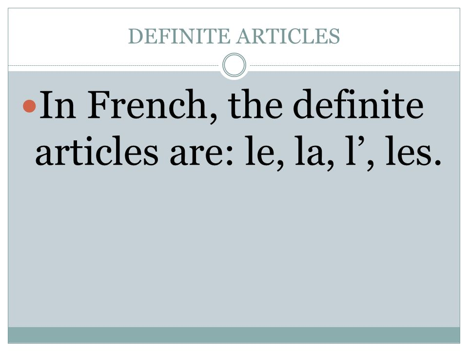 four definite articles french