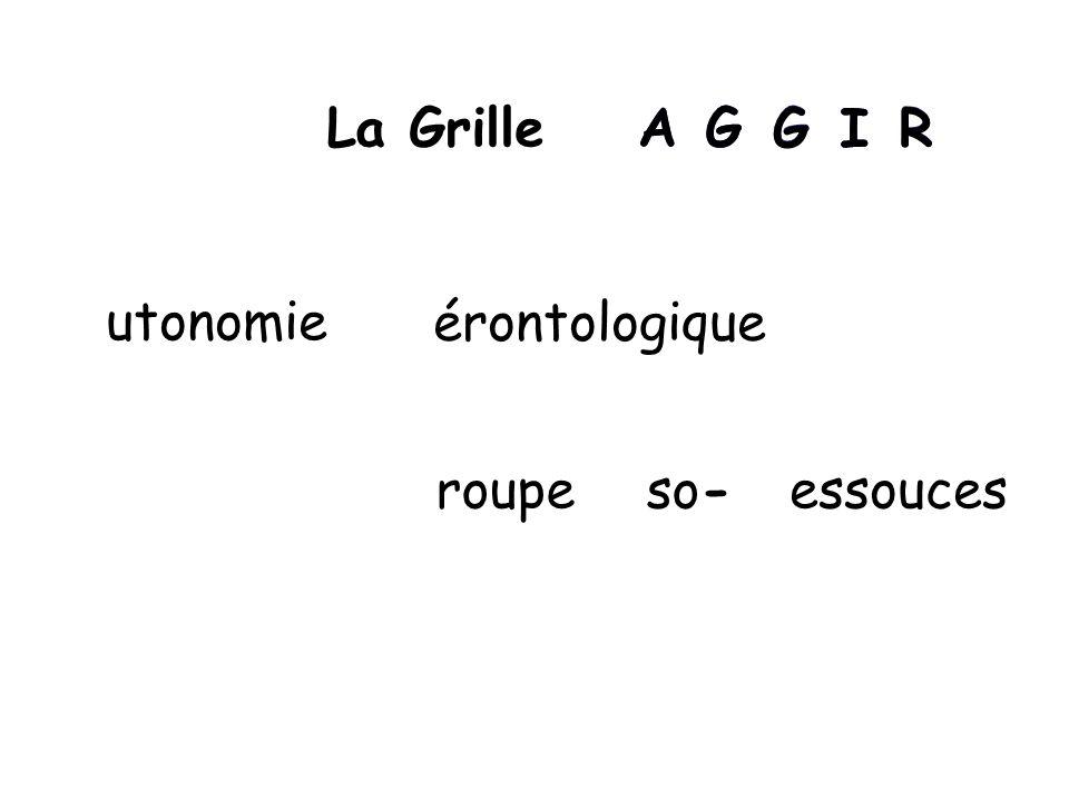 La Grille A A G G G G I I R R utonomie érontologique roupe so- essouces