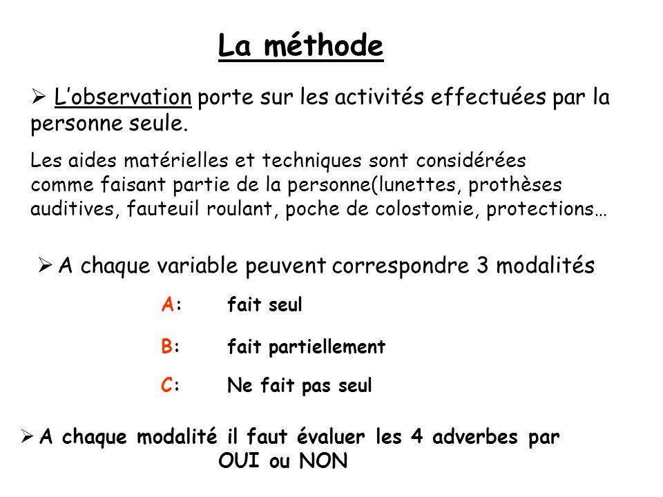 A chaque variable peuvent correspondre 3 modalités