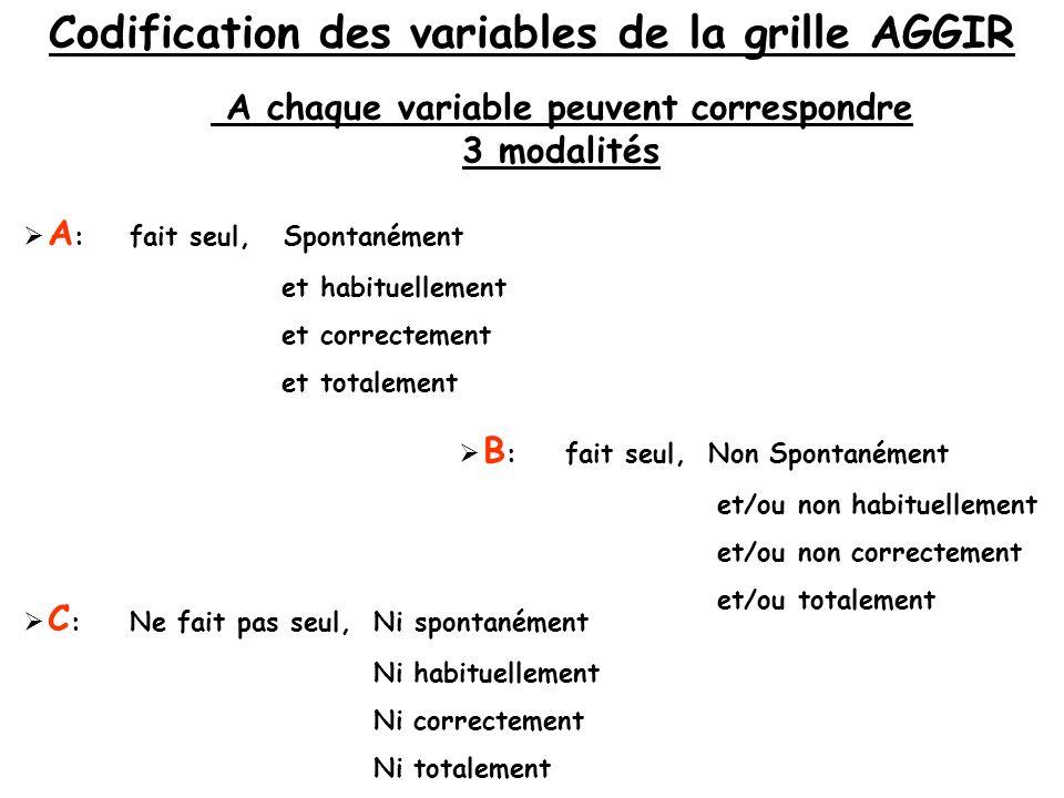 Codification des variables de la grille AGGIR