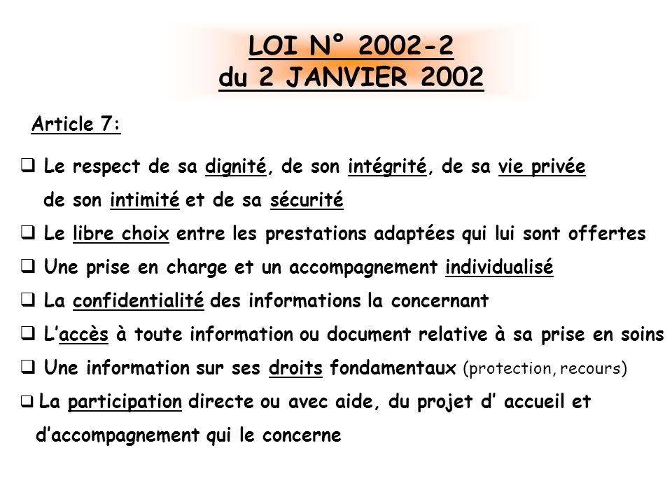 LOI N° 2002-2 du 2 JANVIER 2002 Article 7: