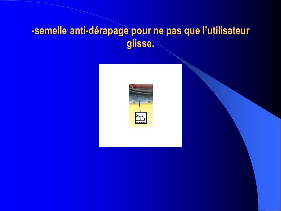 -semelle anti-dérapage pour ne pas que l'utilisateur glisse.