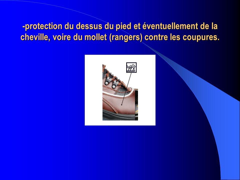 -protection du dessus du pied et éventuellement de la cheville, voire du mollet (rangers) contre les coupures.