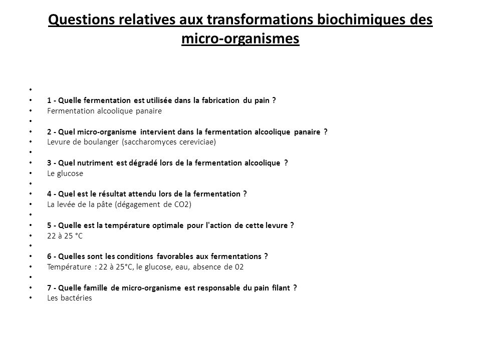 Questions relatives aux transformations biochimiques des micro-organismes