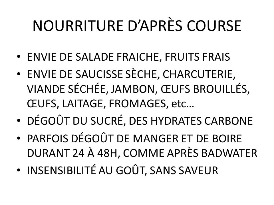 NOURRITURE D'APRÈS COURSE