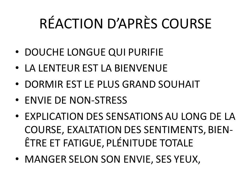 RÉACTION D'APRÈS COURSE
