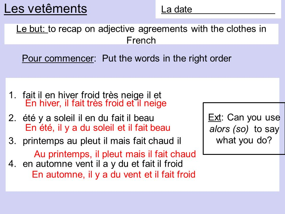 Le but: to recap on adjective agreements with the clothes in French