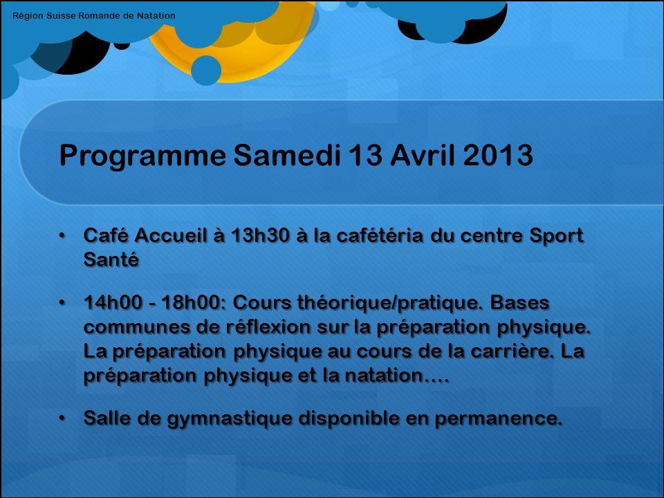 Programme Samedi 13 Avril 2013