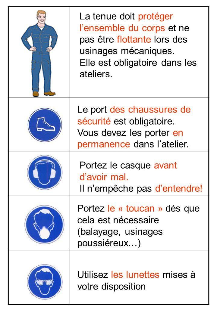 La tenue doit protéger l'ensemble du corps et ne pas être flottante lors des usinages mécaniques.
