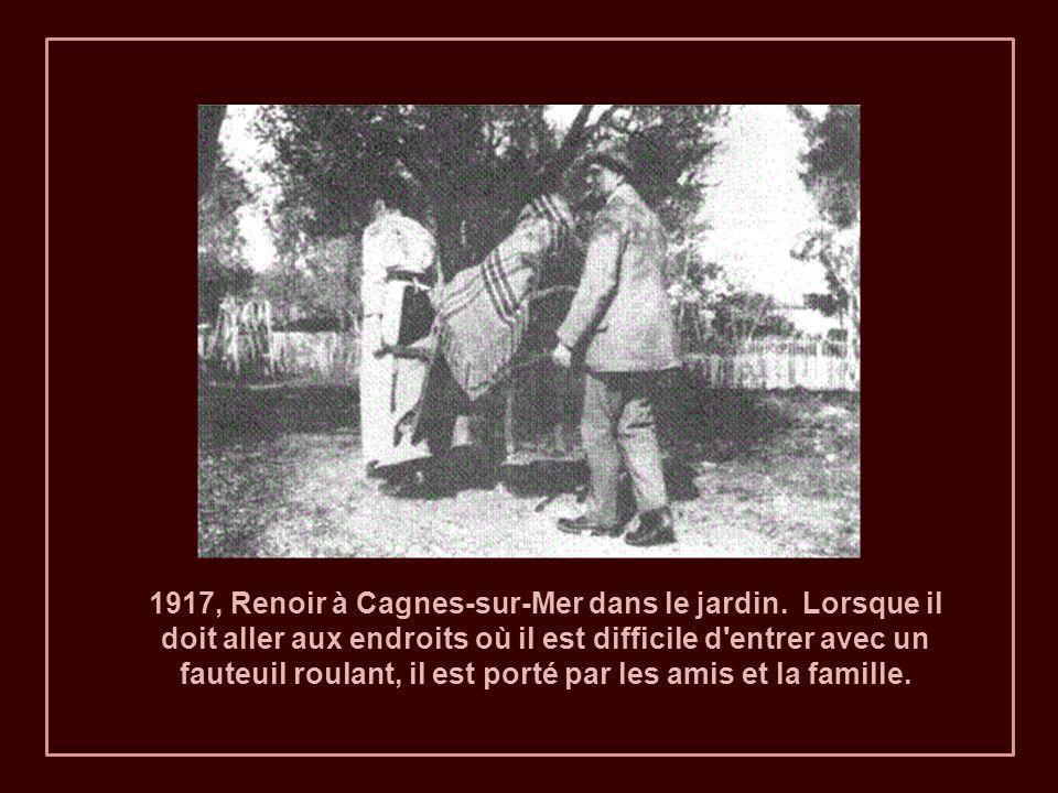 1917, Renoir à Cagnes-sur-Mer dans le jardin