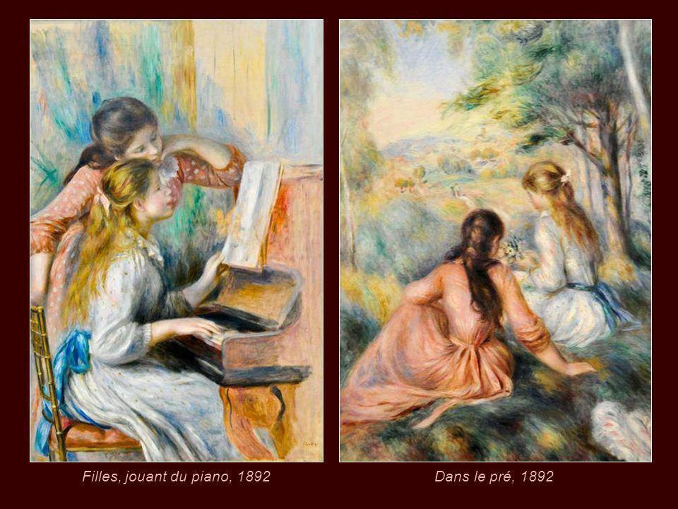 Filles, jouant du piano, 1892 Dans le pré, 1892