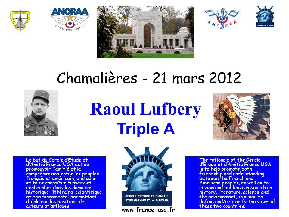 Raoul Lufbery Triple A Chamalières - 21 mars 2012 www.france-usa.fr