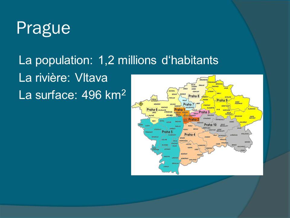 Prague La population: 1,2 millions d'habitants La rivière: Vltava La surface: 496 km2