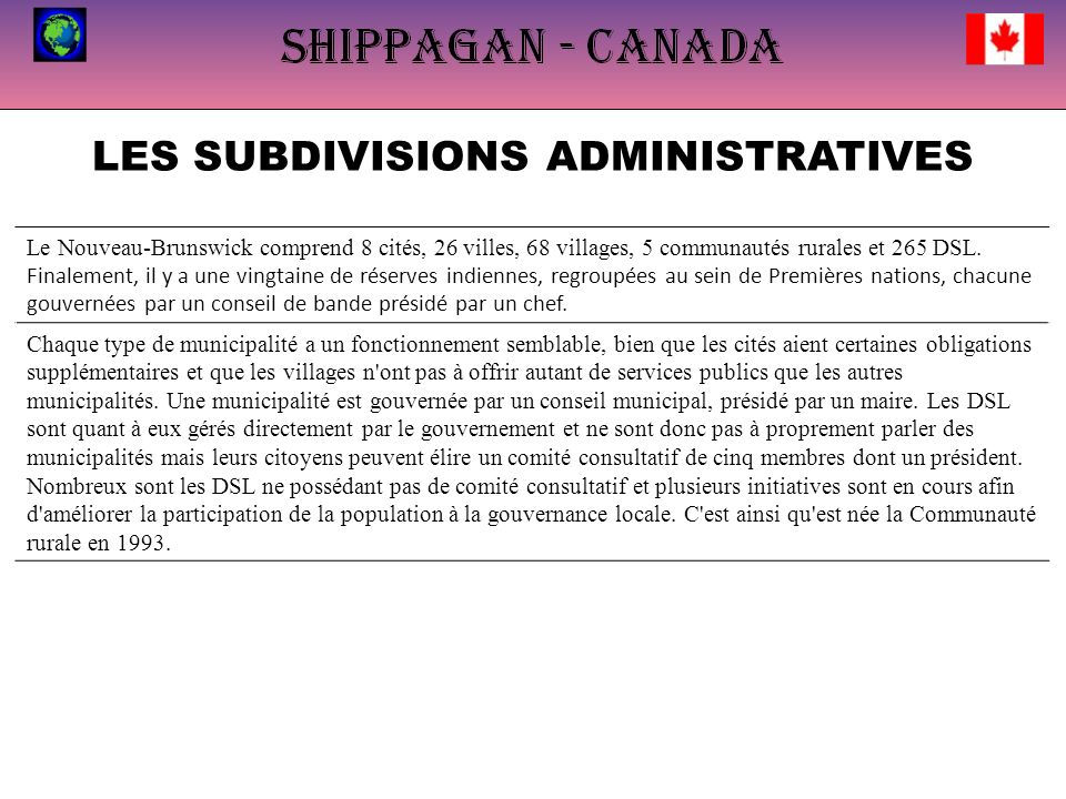 LES SUBDIVISIONS ADMINISTRATIVES