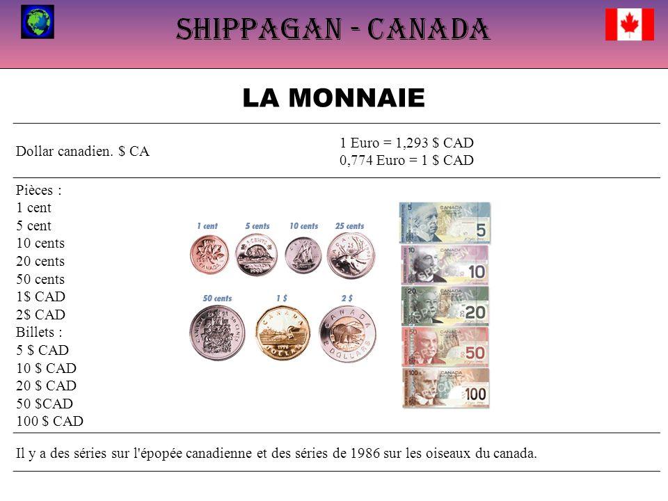 LA MONNAIE Pièces : 1 cent 5 cent 10 cents 1 Euro = 1,293 $ CAD