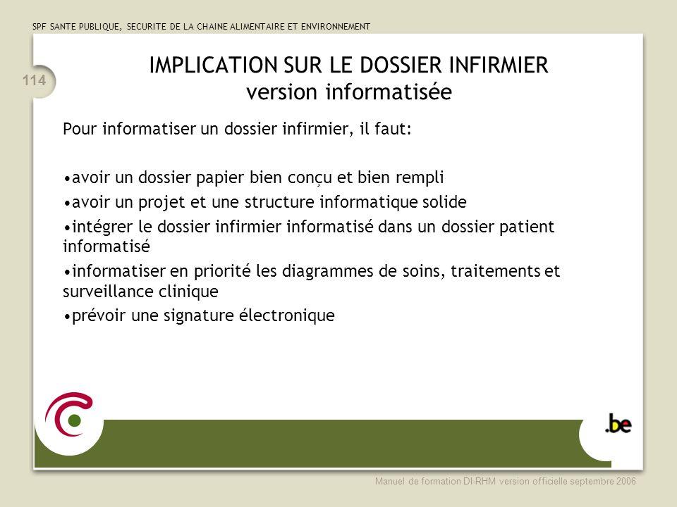 IMPLICATION SUR LE DOSSIER INFIRMIER version informatisée