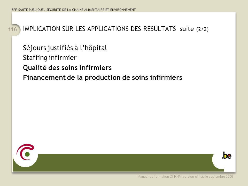 IMPLICATION SUR LES APPLICATIONS DES RESULTATS suite (2/2)