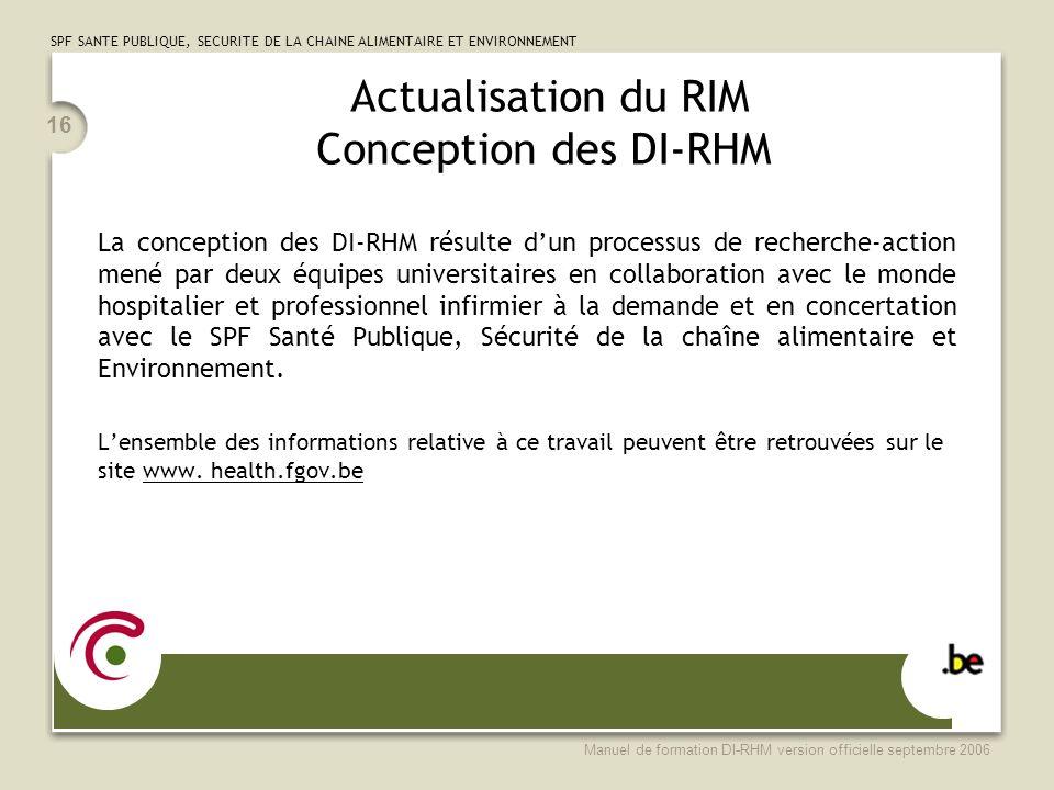 Actualisation du RIM Conception des DI-RHM